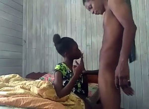 Ebony guyanese maiden gives head