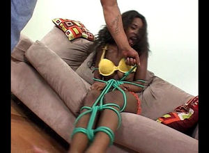 Dark-hued student gets her butt banged..