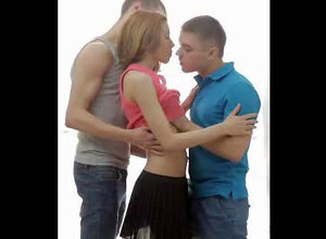 2 guys smooches young lady girl. When..